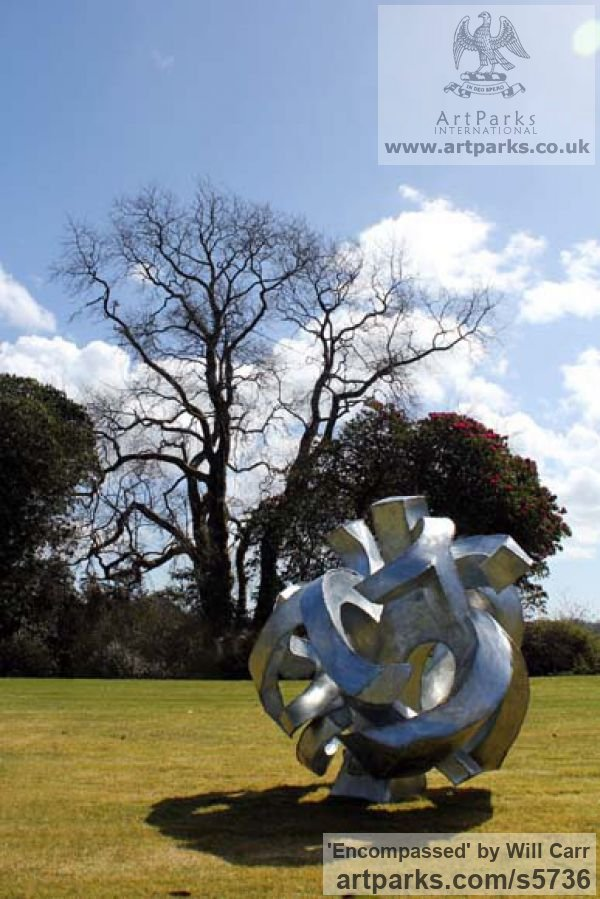 Galvanised Steel Garden Or Yard / Outside and Outdoor sculpture by sculptor Will Carr titled: 'Encompassed (Conceptual Steel Lacoan abstract Round garden/Yard)' - Artwork View 2