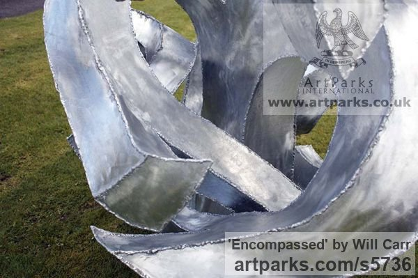 Galvanised Steel Garden Or Yard / Outside and Outdoor sculpture by sculptor Will Carr titled: 'Encompassed (Conceptual Steel Lacoan abstract Round garden/Yard)' - Artwork View 3