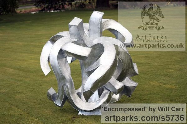 Galvanised Steel Garden Or Yard / Outside and Outdoor sculpture by sculptor Will Carr titled: 'Encompassed (Conceptual Steel Lacoan abstract Round garden/Yard)' - Artwork View 5