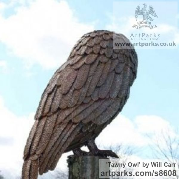 Steel Garden Or Yard / Outside and Outdoor sculpture by sculptor Will Carr titled: 'Tawny Owl' - Artwork View 2