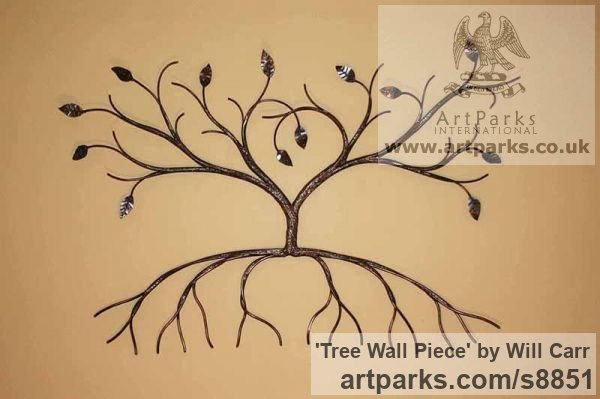 Steel Wall Mounted or Wall Hanging sculpture by sculptor Will Carr titled: 'Tree Wall Piece'