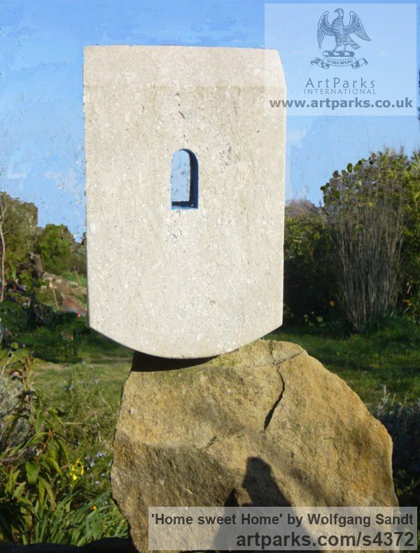 Palladio limestone Garden Or Yard / Outside and Outdoor sculpture by sculptor Wolfgang Sandt titled: 'Home sweet home (Carved stone House sculptures)'