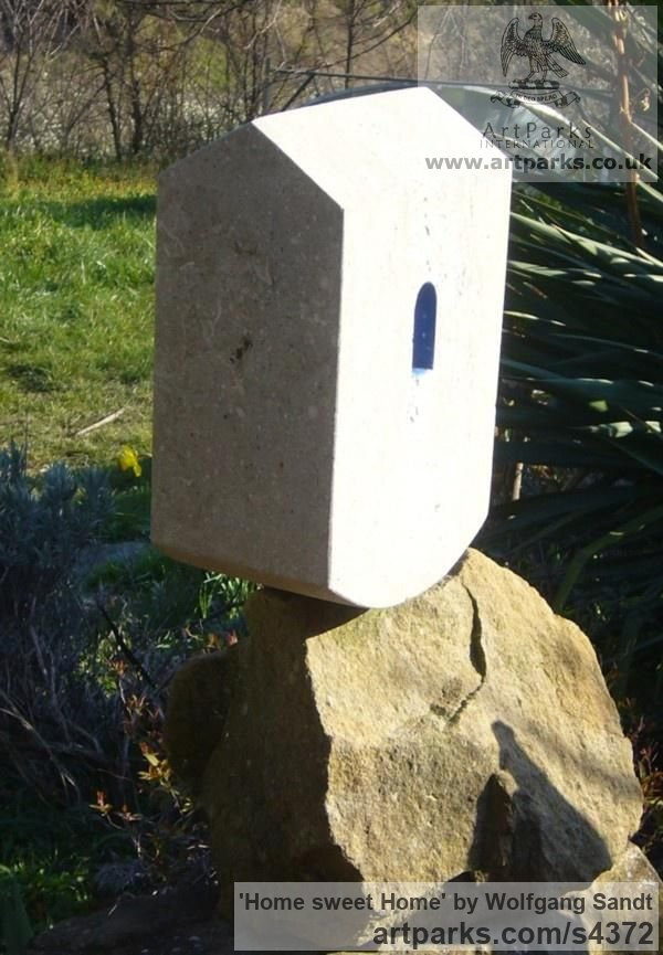 Palladio limestone Garden Or Yard / Outside and Outdoor sculpture by sculptor Wolfgang Sandt titled: 'Home sweet home (Carved stone House sculptures)' - Artwork View 2