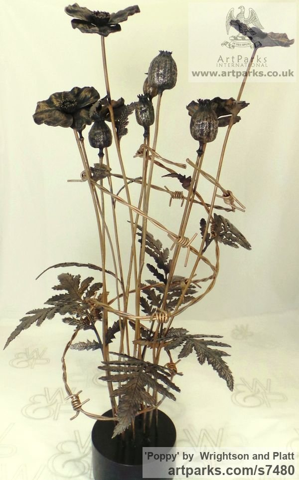 Bronze Cast From Life sculpture or statuette sculpture by sculptor Wrightson and Platt titled: 'Poppy (Bronze Bunch Armistice Flower statue)'