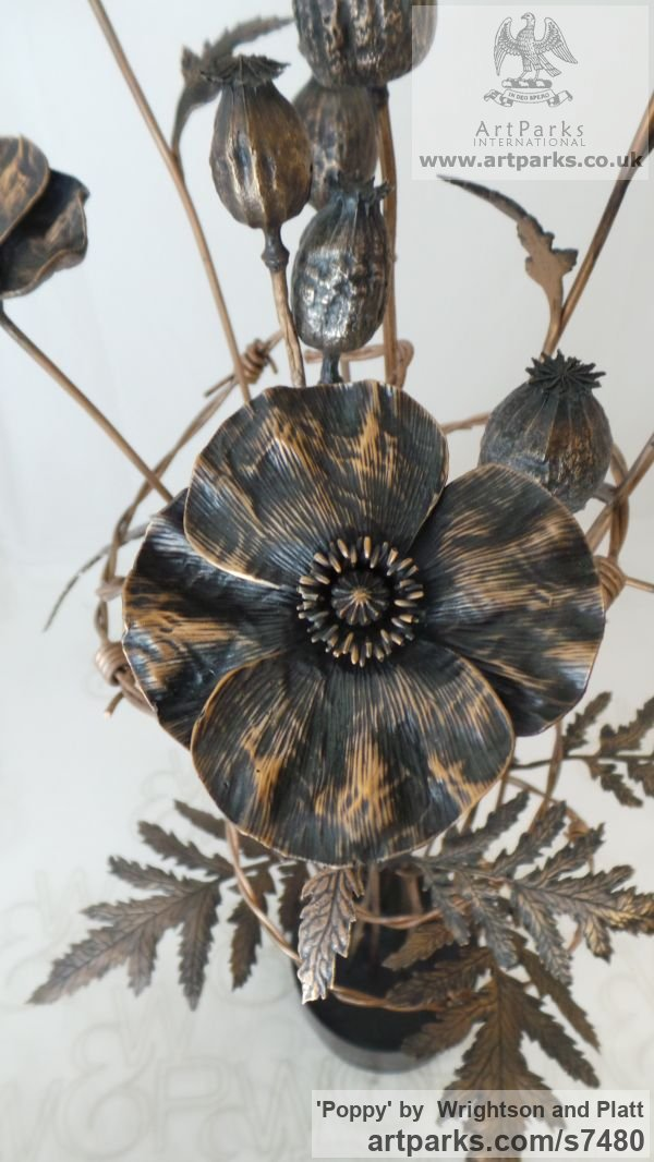 Bronze Cast From Life sculpture or statuette sculpture by sculptor Wrightson and Platt titled: 'Poppy (Bronze Bunch Armistice Flower statue)' - Artwork View 2