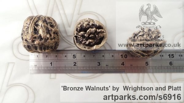 Bronze Cast From Life sculpture or statuette sculpture by sculptor Wrightson and Platt titled: 'Bronze Walnuts (Life-size Intricately Cast from life Walnuts)' - Artwork View 2