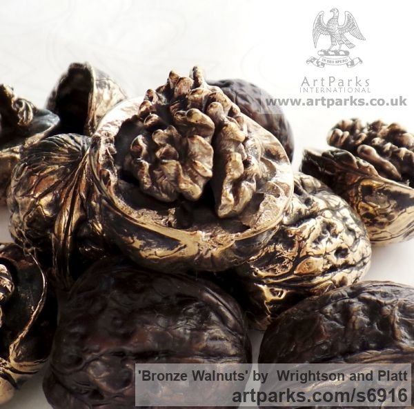 Bronze Cast From Life sculpture or statuette sculpture by sculptor Wrightson and Platt titled: 'Bronze Walnuts (Life-size Intricately Cast from life Walnuts)' - Artwork View 4