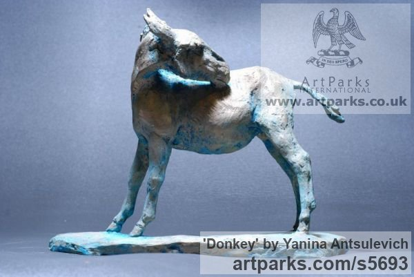 Bronze Horse Sculpture / Equines Race Horses Pack HorseCart Horses Plough Horsess sculpture by sculptor Yanina Antsulevich titled: 'Donkey (Small bronze Standing Equine sculptures/statuette/statue/fi)' - Artwork View 1