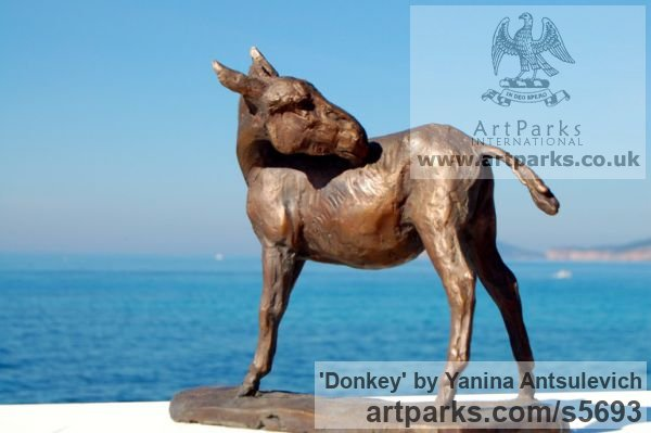 Bronze Horse Sculpture / Equines Race Horses Pack HorseCart Horses Plough Horsess sculpture by sculptor Yanina Antsulevich titled: 'Donkey (Small bronze Standing Equine sculptures/statuette/statue/fi)' - Artwork View 2