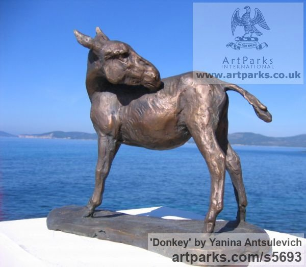 Bronze Horse Sculpture / Equines Race Horses Pack HorseCart Horses Plough Horsess sculpture by sculptor Yanina Antsulevich titled: 'Donkey (Small bronze Standing Equine sculptures/statuette/statue/fi)' - Artwork View 3