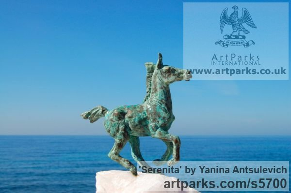 Bronze and Stone Horse Sculpture / Equines Race Horses Pack HorseCart Horses Plough Horsess sculpture by sculptor Yanina Antsulevich titled: 'Serenita (Small/Little Bronze Frisking Donkey troting statues/statuette)' - Artwork View 1