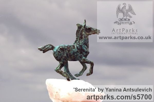 Bronze and Stone Horse Sculpture / Equines Race Horses Pack HorseCart Horses Plough Horsess sculpture by sculptor Yanina Antsulevich titled: 'Serenita (Small/Little Bronze Frisking Donkey troting statues/statuette)' - Artwork View 2
