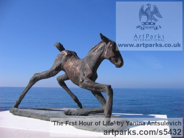 Horse Sculpture / Equines Race Horses Pack HorseCart Horses Plough Horsess sculpture by sculptor Yanina Antsulevich titled: 'The Frst Hour of Life (Tottering Foal/Baby/young horse bronzes/statue)' - Artwork View 3