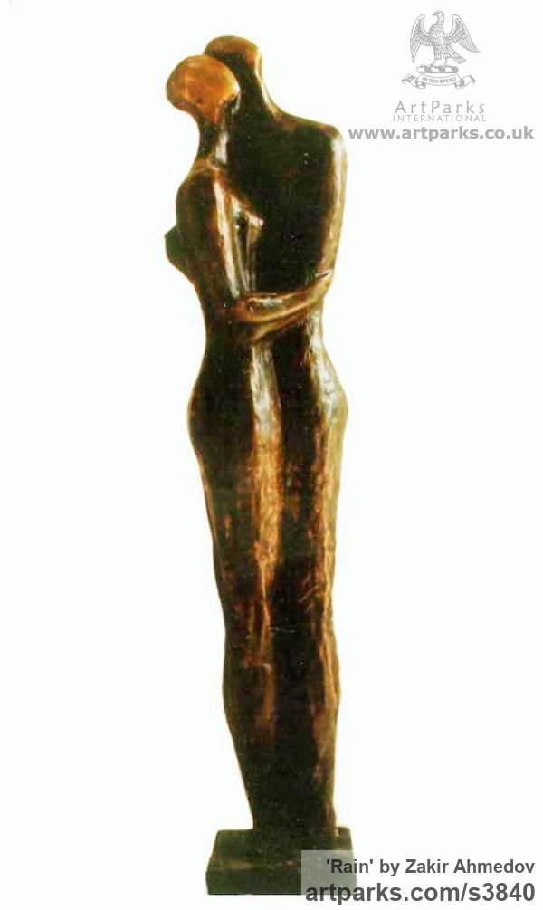 Bronze Abstract Dance / Dancer sculpture by sculptor Zakir Ahmedov titled: 'Rain (abstract Hugging Embracing nude Couple statues)' - Artwork View 1