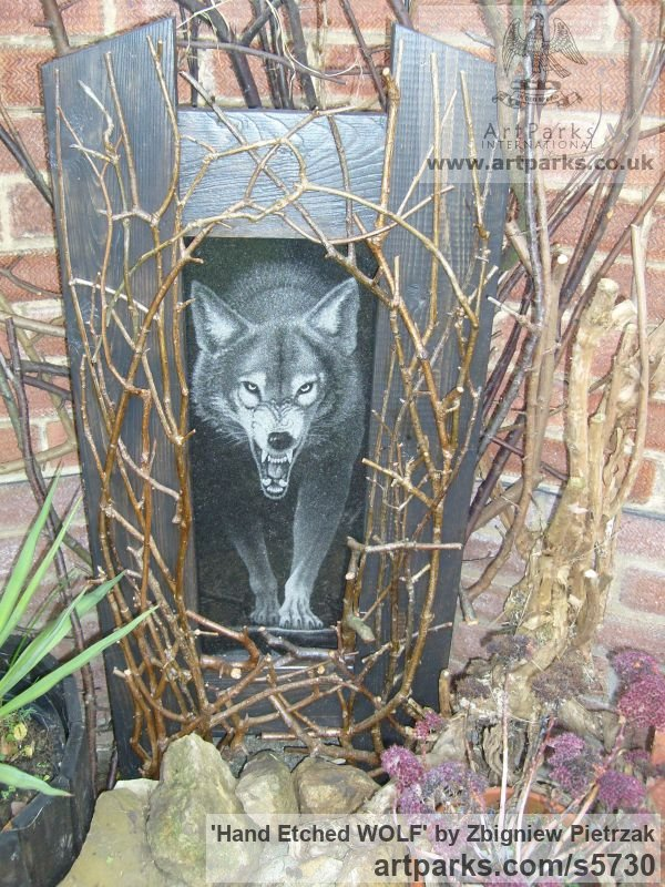 Black Granite Wall Mounted or Wall Hanging sculpture by sculptor Zbigniew Pietrzak titled: 'Hand Etched WOLF (Prowling Hunting Wall Panel Carving sculpture)'