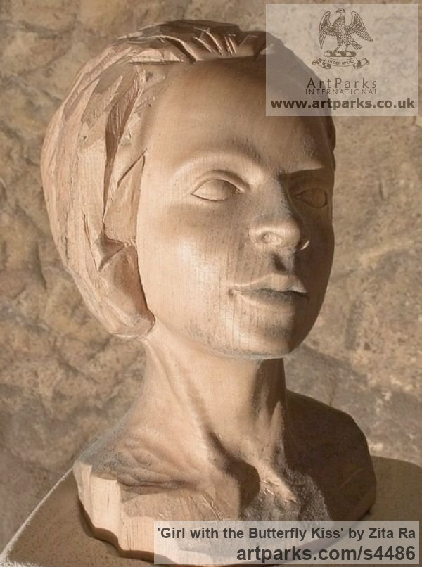 Lime Wood, Breeze Block Portrait Sculptures / Commission or Bespoke or Customised sculpture by sculptor Zita Ra titled: 'Girl with the Butterfly Kiss (Carved Wood Face Bust Head sculptures)'