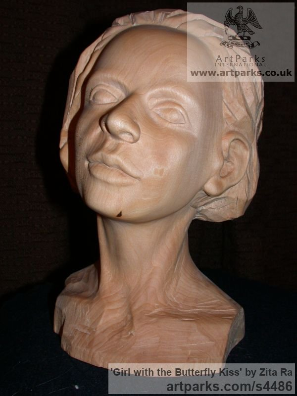 Lime Wood, Breeze Block Portrait Sculptures / Commission or Bespoke or Customised sculpture by sculptor Zita Ra titled: 'Girl with the Butterfly Kiss (Carved Wood Face Bust Head sculptures)' - Artwork View 2