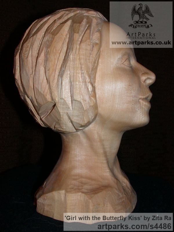 Lime Wood, Breeze Block Portrait Sculptures / Commission or Bespoke or Customised sculpture by sculptor Zita Ra titled: 'Girl with the Butterfly Kiss (Carved Wood Face Bust Head sculptures)' - Artwork View 3
