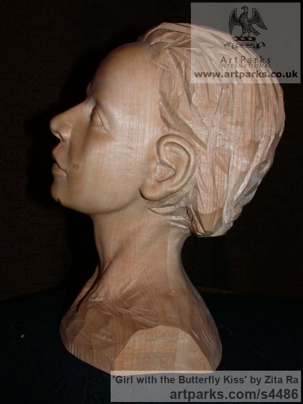 Lime Wood, Breeze Block Portrait Sculptures / Commission or Bespoke or Customised sculpture by sculptor Zita Ra titled: 'Girl with the Butterfly Kiss (Carved Wood Face Bust Head sculptures)' - Artwork View 4