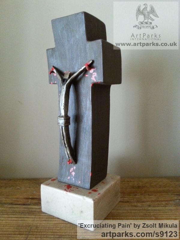 Painted Wood & Limestone Christian Sculpture and sculpture by sculptor Zsolt Mikula titled: 'Excruciating Pain (Crucifixion of Jesus Christ statue)'