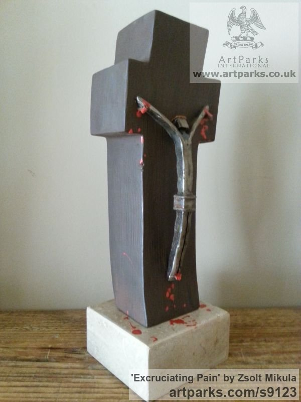 Painted Wood & Limestone Christian Sculpture and sculpture by sculptor Zsolt Mikula titled: 'Excruciating Pain (Crucifixion of Jesus Christ statue)' - Artwork View 3