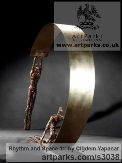 Bronze, Brass Sheet, Nude or Naked Couples or Lovers sculpture by sculptor Çiğdem Yapanar titled: 'Rhythm and Space 11 (Small Bronze abstract figurative Indoor sculpture)' - Artwork View 2