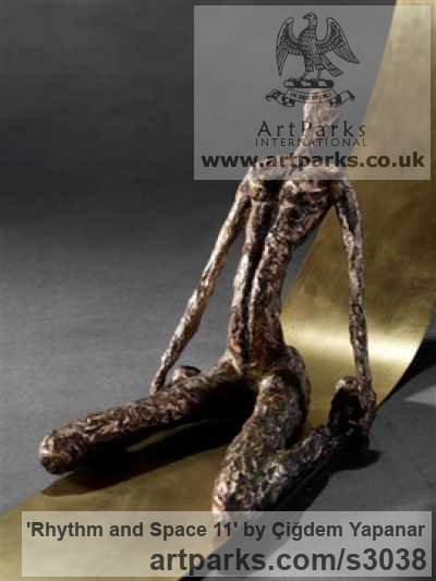 Bronze, Brass Sheet, Nude or Naked Couples or Lovers sculpture by sculptor Çiğdem Yapanar titled: 'Rhythm and Space 11 (Small Bronze abstract figurative Indoor sculpture)' - Artwork View 4
