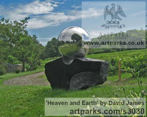 Belfast black granite, stainless steel Garden Or Yard / Outside and Outdoor sculpture by sculptor David James titled: 'Heaven and Earth (Round, Spherical, Globelike, Globular statues/sculpture)'