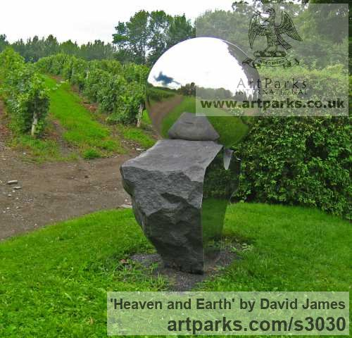 Belfast black granite, stainless steel Garden Or Yard / Outside and Outdoor sculpture by sculptor David James titled: 'Heaven and Earth (Round, Spherical, Globelike, Globular statues/sculpture)' - Artwork View 2