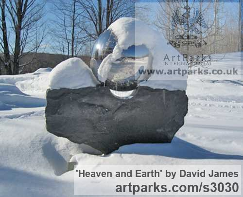 Belfast black granite, stainless steel Garden Or Yard / Outside and Outdoor sculpture by sculptor David James titled: 'Heaven and Earth (Round, Spherical, Globelike, Globular statues/sculpture)' - Artwork View 3