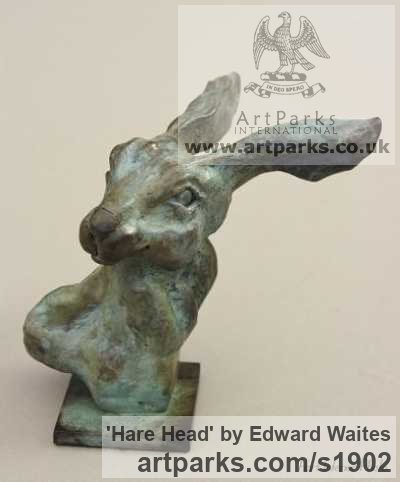 Bronze Garden Or Yard / Outside and Outdoor sculpture by sculptor Edward Waites titled: 'Hare Head (Mad March Hare Heads Bust figurine statuette statue ornament)'
