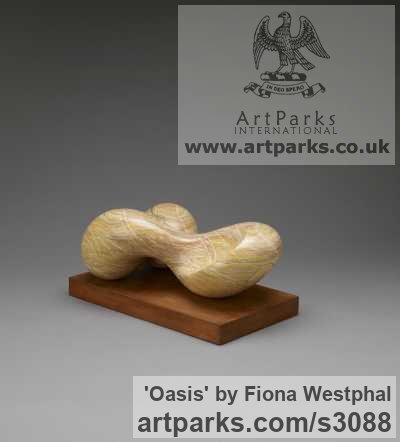 Arizona alabaster Carved Stone, Marble, Alabaster, Soap Stone Granite Lime stone sculpture by sculptor Fiona Westphal titled: 'Oasis (abstract Intellectual and Emotional Contemporary statue)' - Artwork View 2