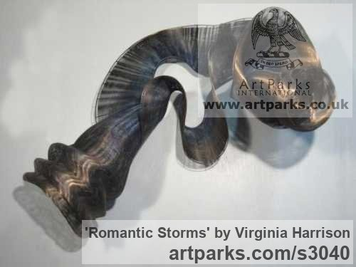 Bronze Wall Mounted or Wall Hanging sculpture by sculptor Virginia Harrison titled: 'Romantic Storms (Contemporary Wavy Woven Metal statue)'