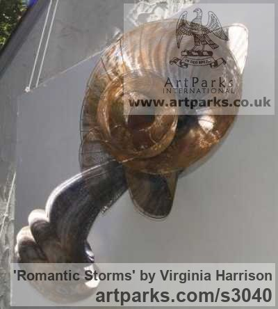 Bronze Wall Mounted or Wall Hanging sculpture by sculptor Virginia Harrison titled: 'Romantic Storms (Contemporary Wavy Woven Metal statue)' - Artwork View 2