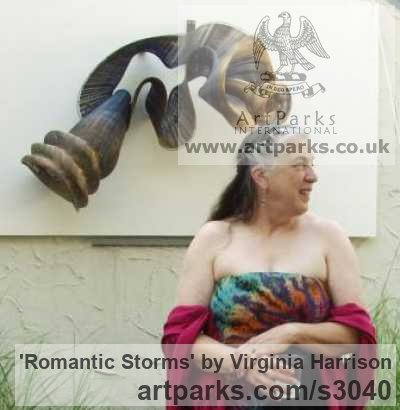 Bronze Wall Mounted or Wall Hanging sculpture by sculptor Virginia Harrison titled: 'Romantic Storms (Contemporary Wavy Woven Metal statue)' - Artwork View 4