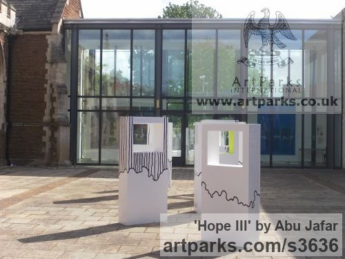 Woood Fabricated Metal Abstract sculpture by sculptor Abu Jafar titled: 'Hope III (abstract White Rectangular Indoor sculptures)' - Artwork View 2