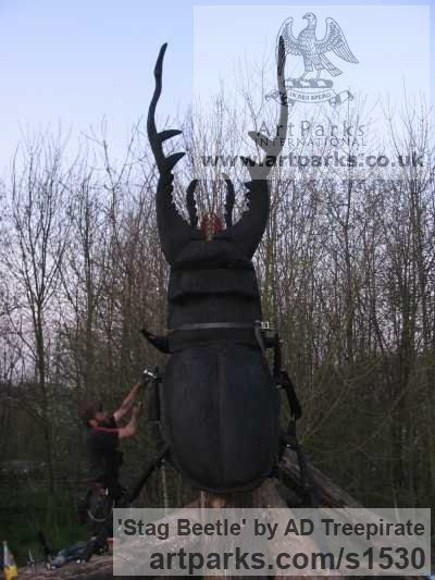 Redwood Garden Or Yard / Outside and Outdoor sculpture by sculptor AD Treepirate titled: 'Stag Beetle (Giant Outsize Carved Wood Insect statue)'