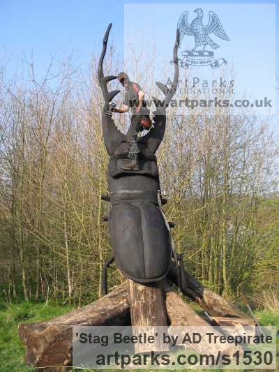 Redwood Garden Or Yard / Outside and Outdoor sculpture by sculptor AD Treepirate titled: 'Stag Beetle (Giant Outsize Carved Wood Insect statue)' - Artwork View 3