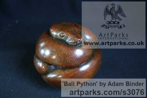 Bronze Wild Animals and Wild Life sculpture by sculptor Adam Binder titled: 'Ball Python (Little Coiled Snake statuettes statues)'