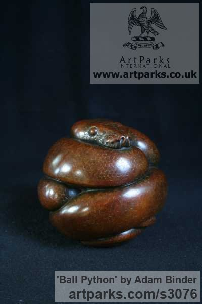 Bronze Wild Animals and Wild Life sculpture by sculptor Adam Binder titled: 'Ball Python (Little Coiled Snake statuettes statues)' - Artwork View 2