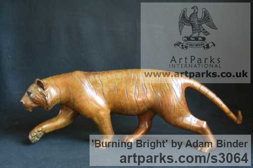 Bronze Cats Wild and Big Cats sculpture by sculptor Adam Binder titled: 'Burning Bright (Small Indoor Pacing Tiger statuettes)'
