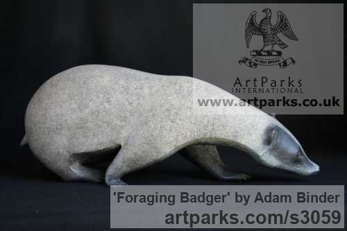 Bronze Field Sports, Game Birds and Game Animals sculpture by artist Adam Binder titled: 'Foraging Badger (Small bronze Searching sculptures/statuettes)'
