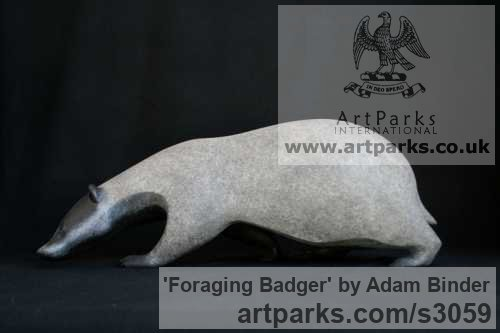 Bronze Field Sports, Game Birds and Game Animals sculpture by artist Adam Binder titled: 'Foraging Badger (Small bronze Searching sculptures/statuettes)' - Artwork View 3