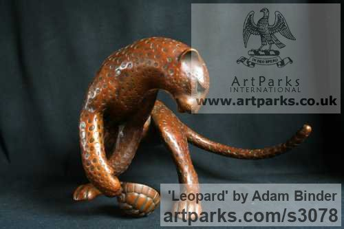 Bronze Cats sculpture by sculptor Adam Binder titled: 'Leopard (Feeding Stylised Big Cat Contemporary statue)'
