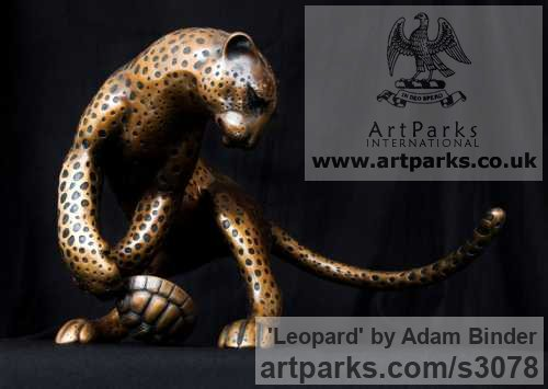 Bronze Cats sculpture by sculptor Adam Binder titled: 'Leopard (Feeding Stylised Big Cat Contemporary statue)' - Artwork View 2