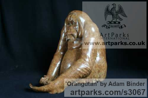 Bronze Wild Animals and Wild Life sculpture by sculptor Adam Binder titled: 'Orangutan (Small Bronze Sitting sculptures/statues)'