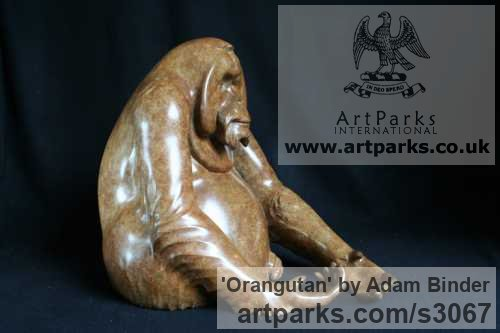 Bronze Wild Animals and Wild Life sculpture by sculptor Adam Binder titled: 'Orangutan (Small Bronze Sitting sculptures/statues)' - Artwork View 2