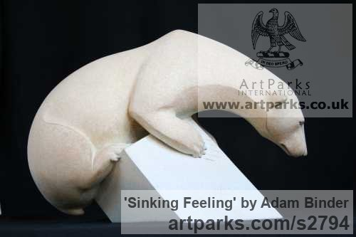 Bronze Wild Animals and Wild Life sculpture by sculptor Adam Binder titled: 'Sinking Feeling (White Polar Bear on Iceflow sculpture)'