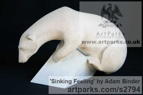 Bronze Wild Animals and Wild Life sculpture by sculptor Adam Binder titled: 'Sinking Feeling (White Polar Bear on Iceflow sculpture)' - Artwork View 2