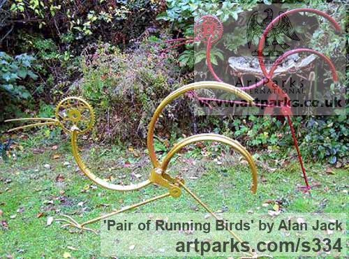 Scrap Metal Garden Or Yard / Outside and Outdoor sculpture by sculptor Alan Jack titled: 'Pair of Running Birds'